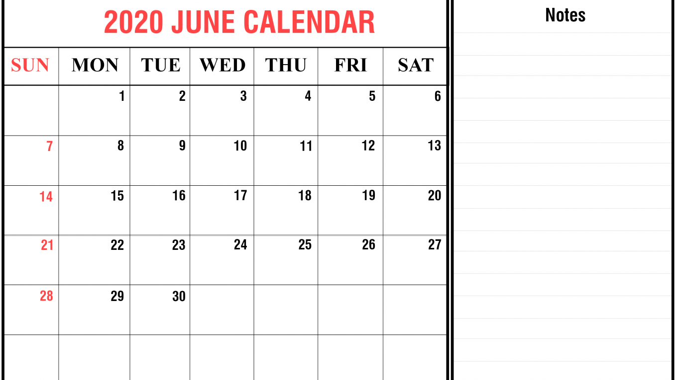 graphic regarding Free Printable June Calendar named June 2020 Calendar - Printable Template Hub