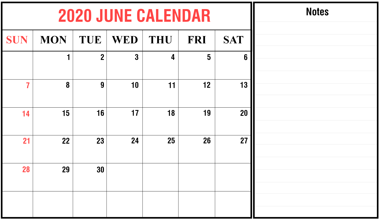 Printable Calendar June 2020.Free June Calendar 2020 Printable Template In Pdf Word Excel