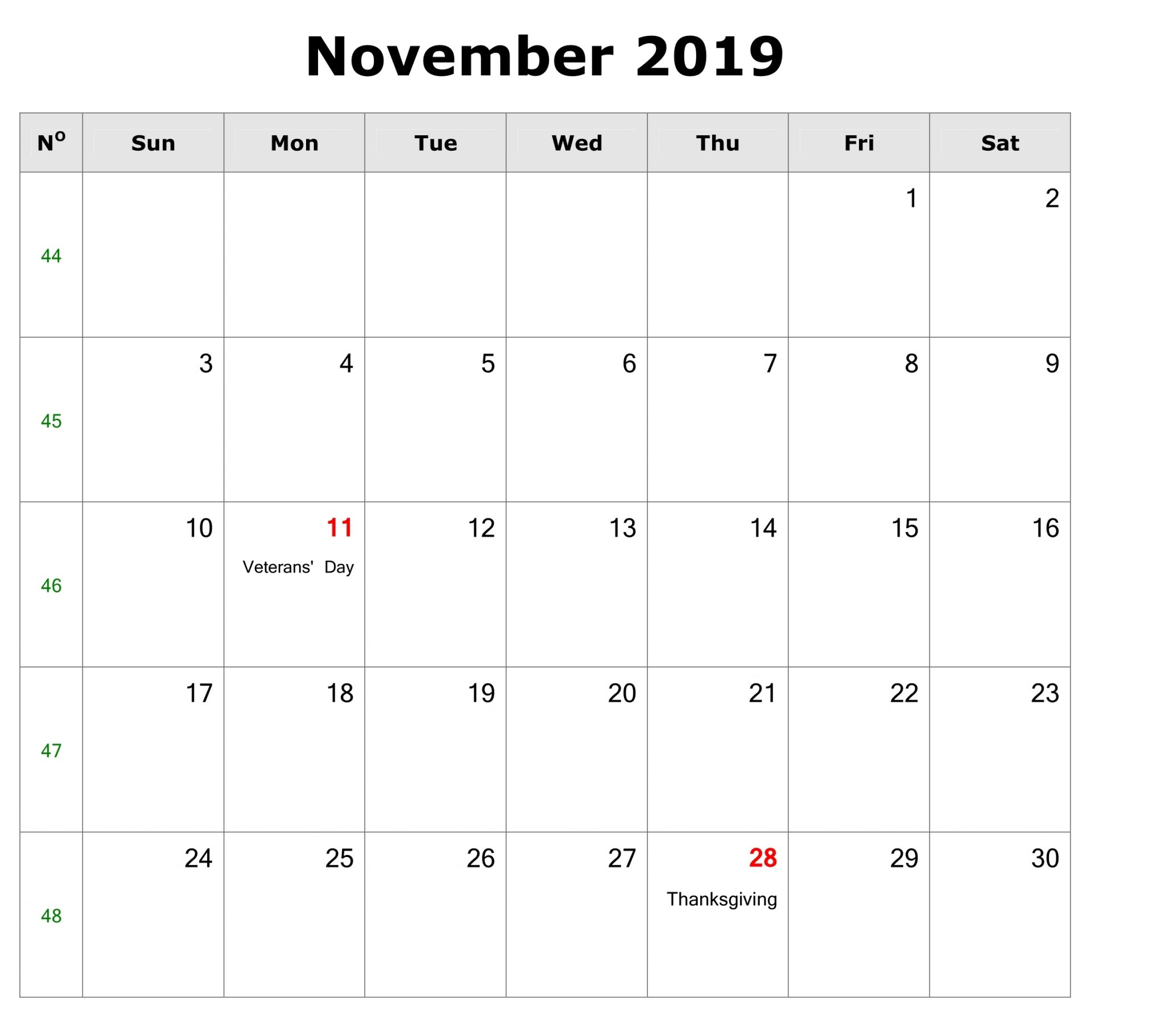 Holidays Calendar for November 2019