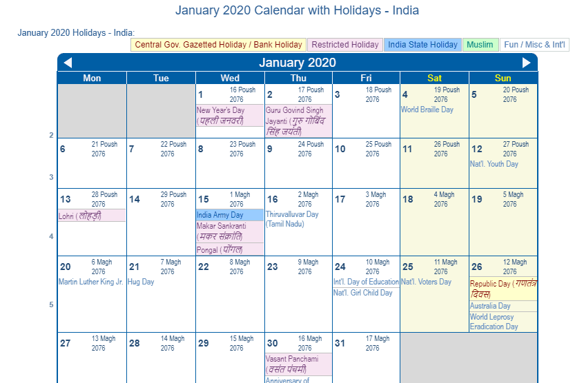 January 2020 Calendar with Holidays India