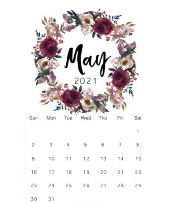 May 2021 Calendar Waterproof