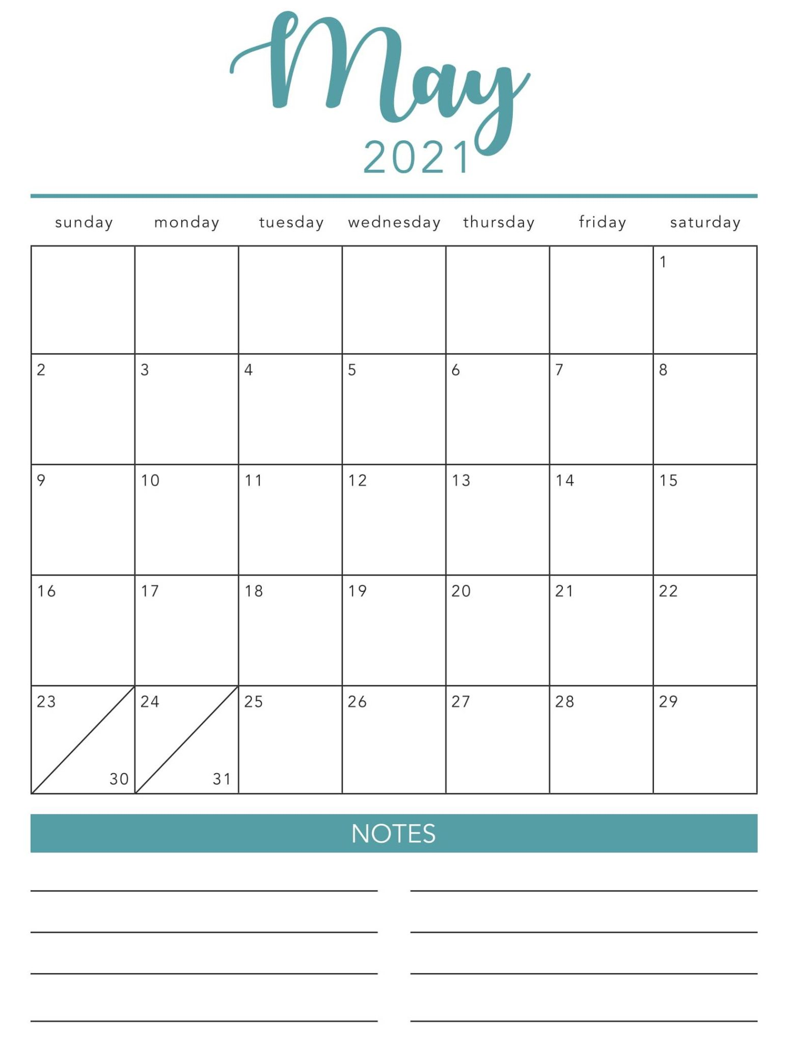 may 2021 fillable calendar with notes