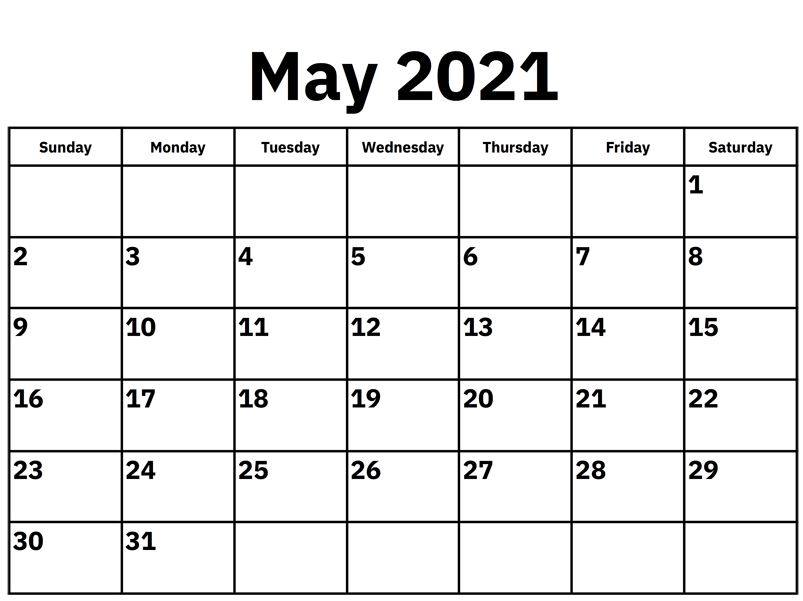May 2021 Printable Calendar Templates