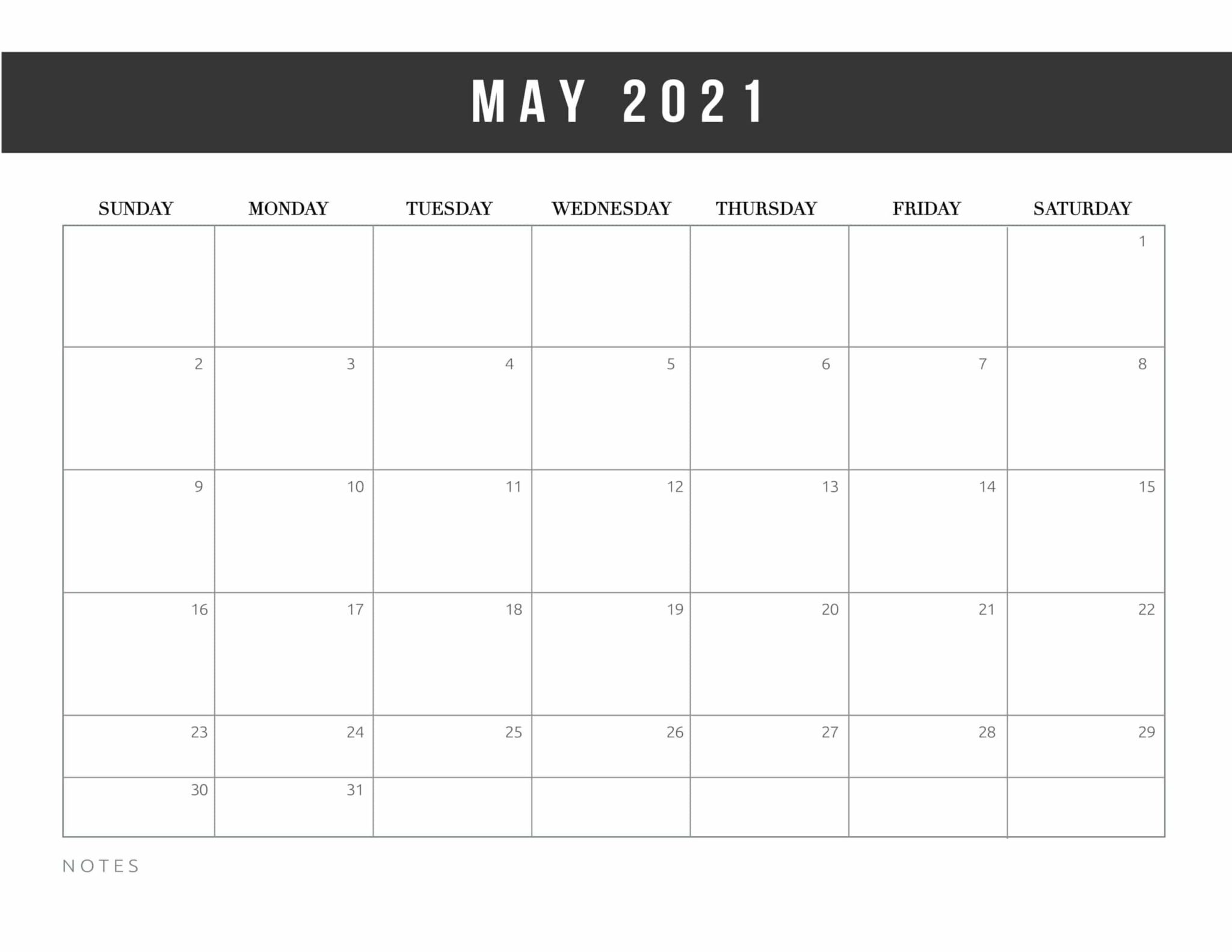 May 2021 monthly calendar pdf word excel