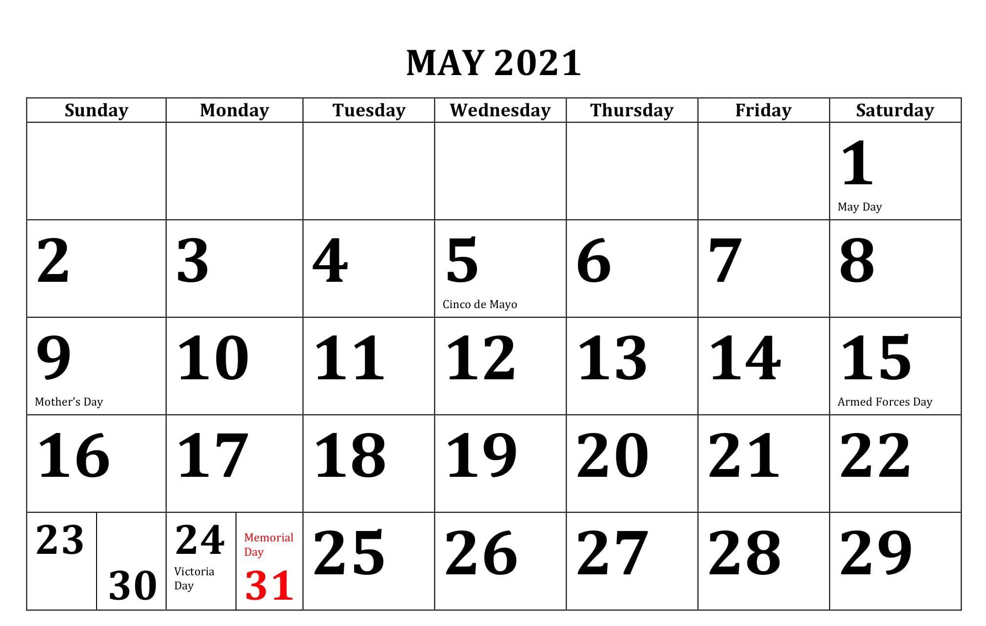 may calendar 2021 holidays