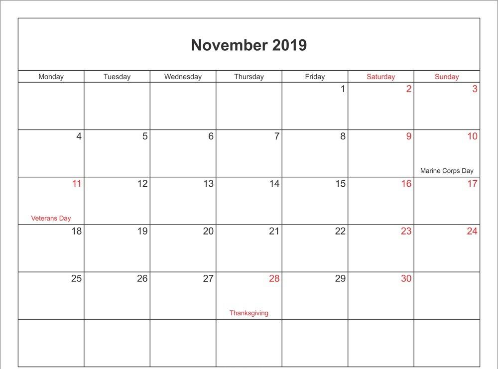 November 2019 Holidays Calendar UK