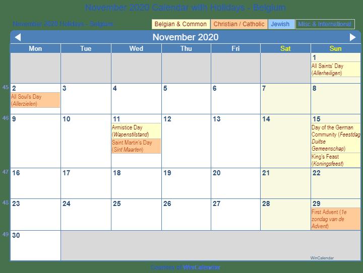 November 2020 Belgium Calendar Holidays
