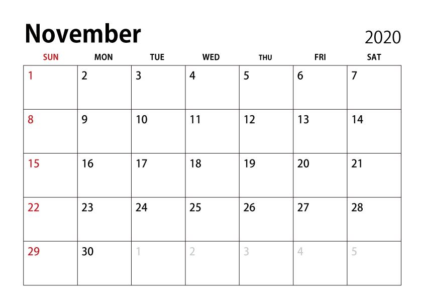 November 2020 Calendar Free PNG Image