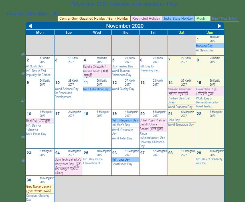November 2020 Calendar with Holidays India