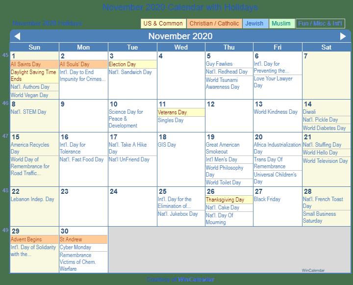 November 2020 Calendar with Holidays United States