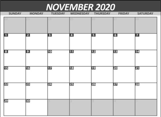 November 2020 Free Printable Calendar Page