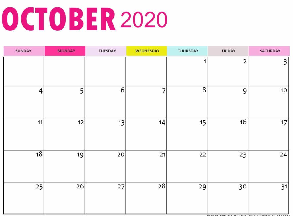 October 2020 Calendar Page