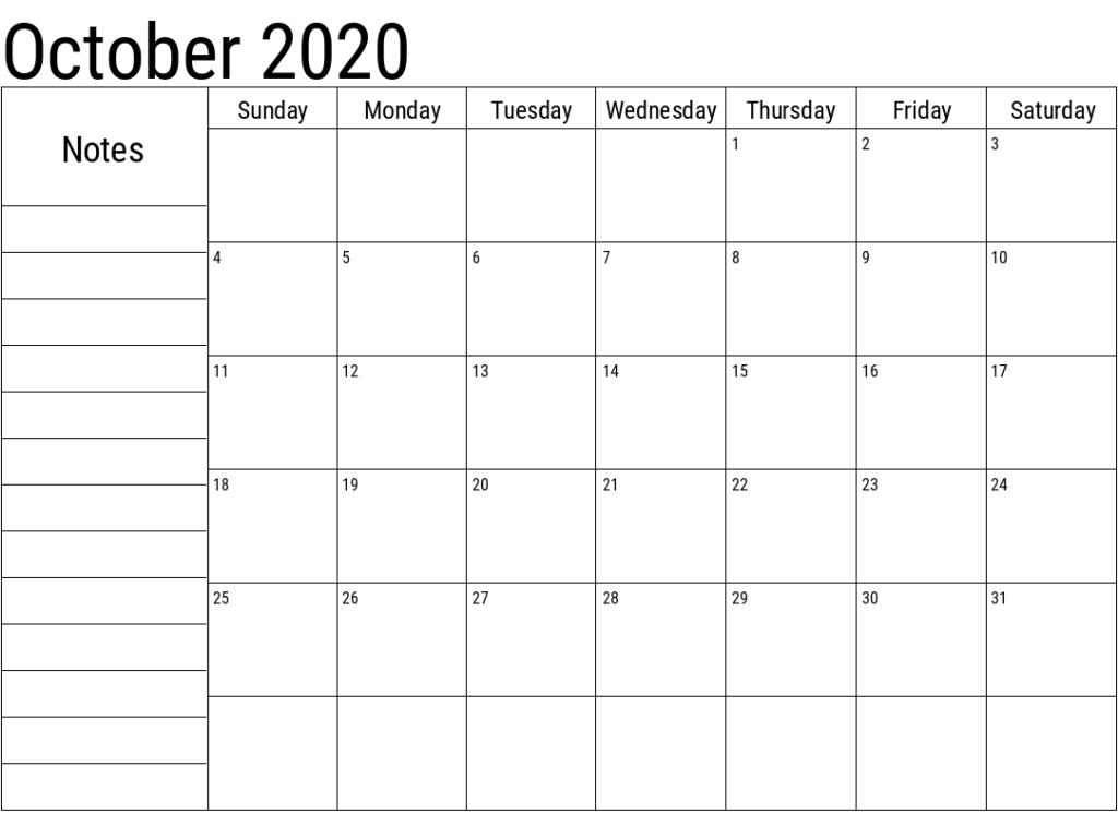 October 2020 Printable Calendar Free