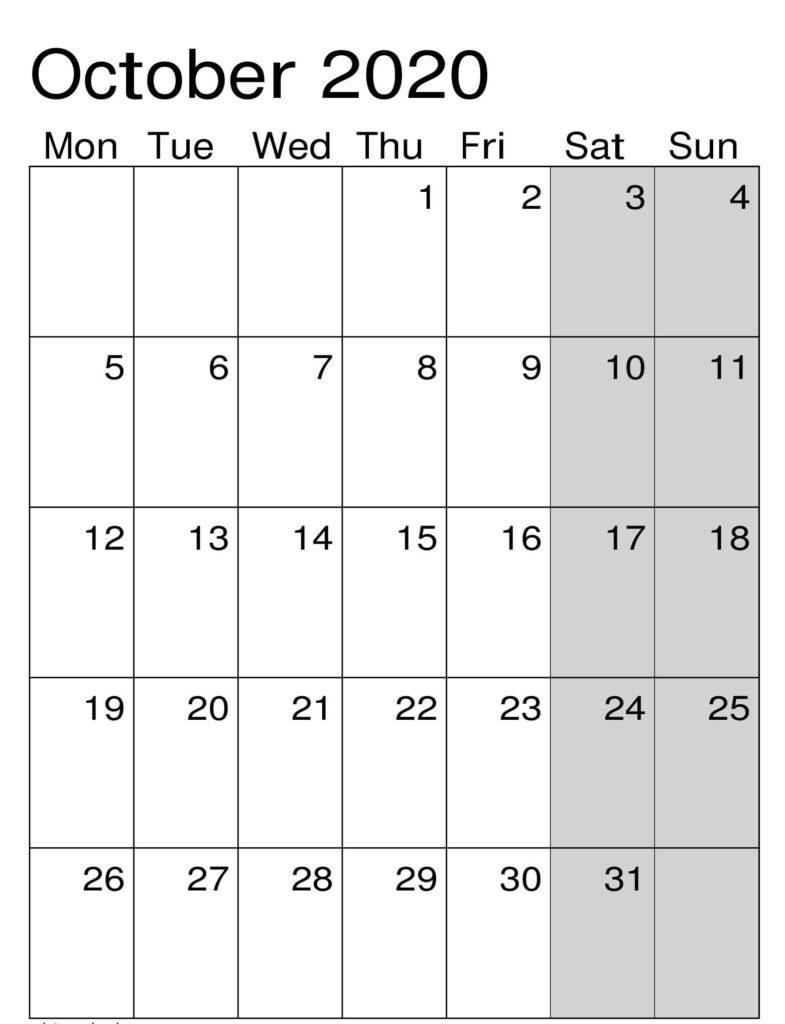 October Calendar 2020 Word