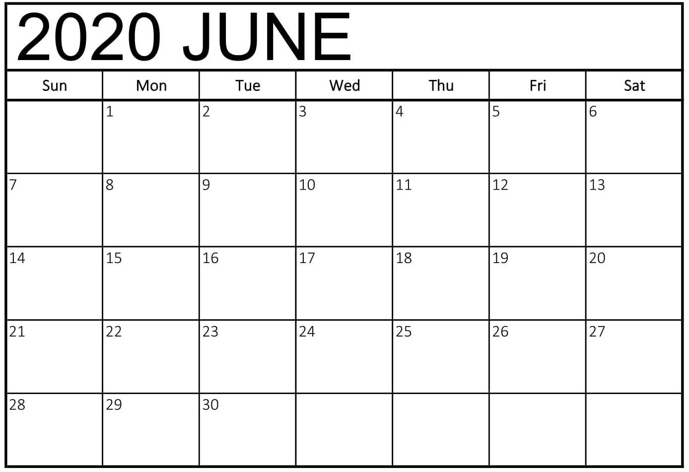 Online June 2020 Printable Calendar Free