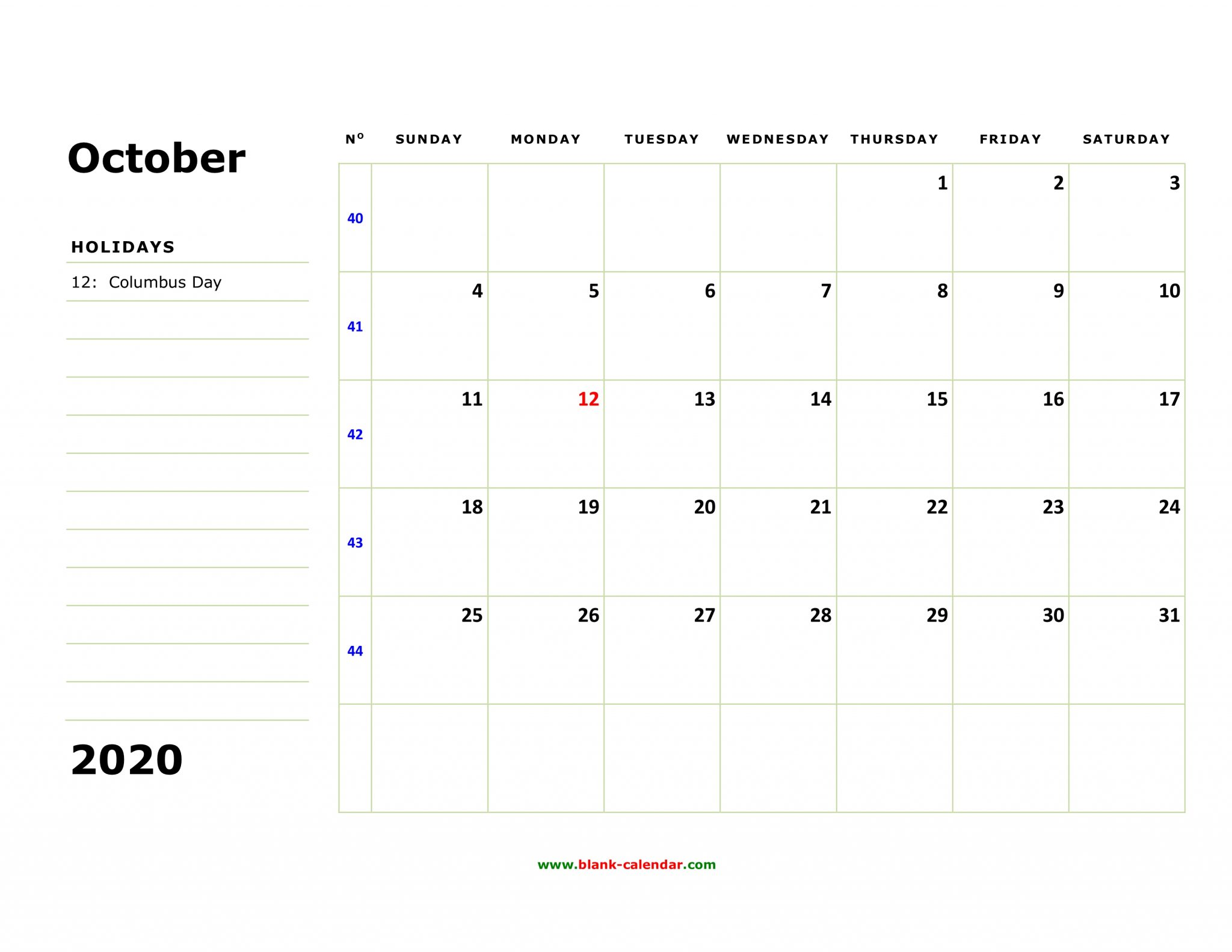 Printable Calendar For October 2020