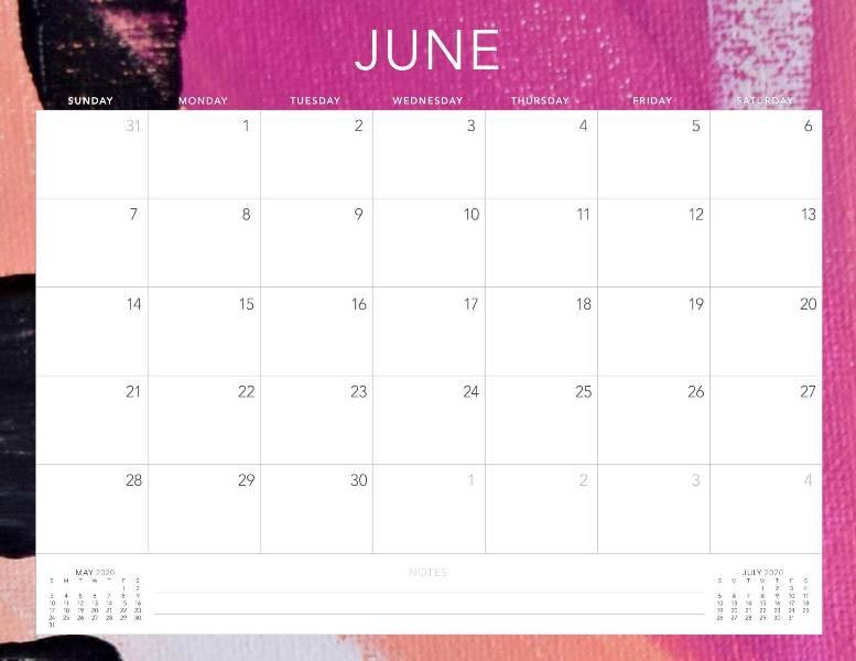Printable June 2020 Calendar Excel