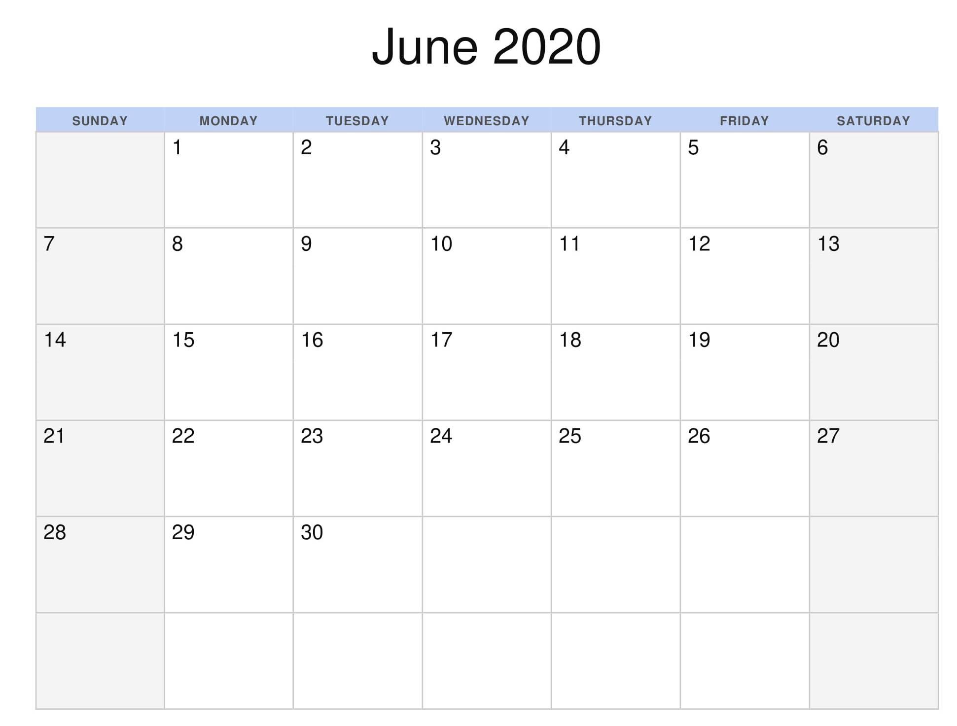 Printable June 2020 Calendar JPG