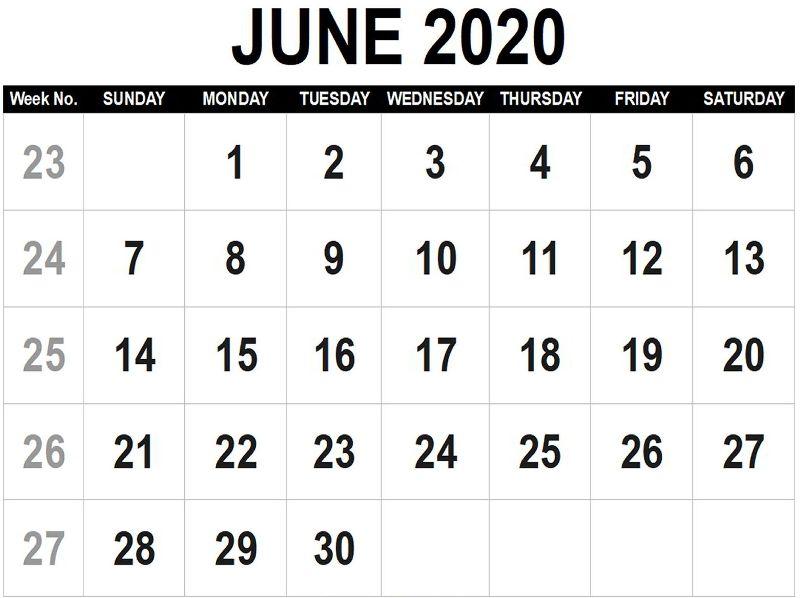 Printable June 2020 Calendar Letter