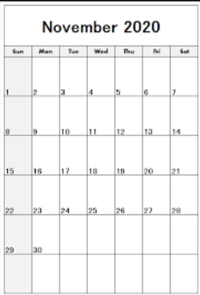 Printable November 2020 Calendar Free Templates- Portrait Calendar