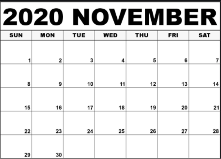 Printable November 2020 Calendar Template