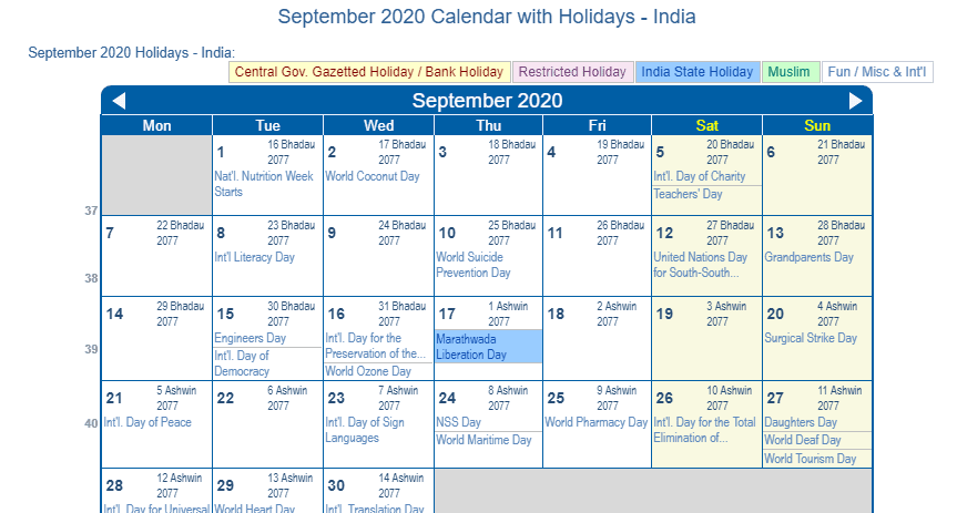 September 2020 Calendar With Holidays India