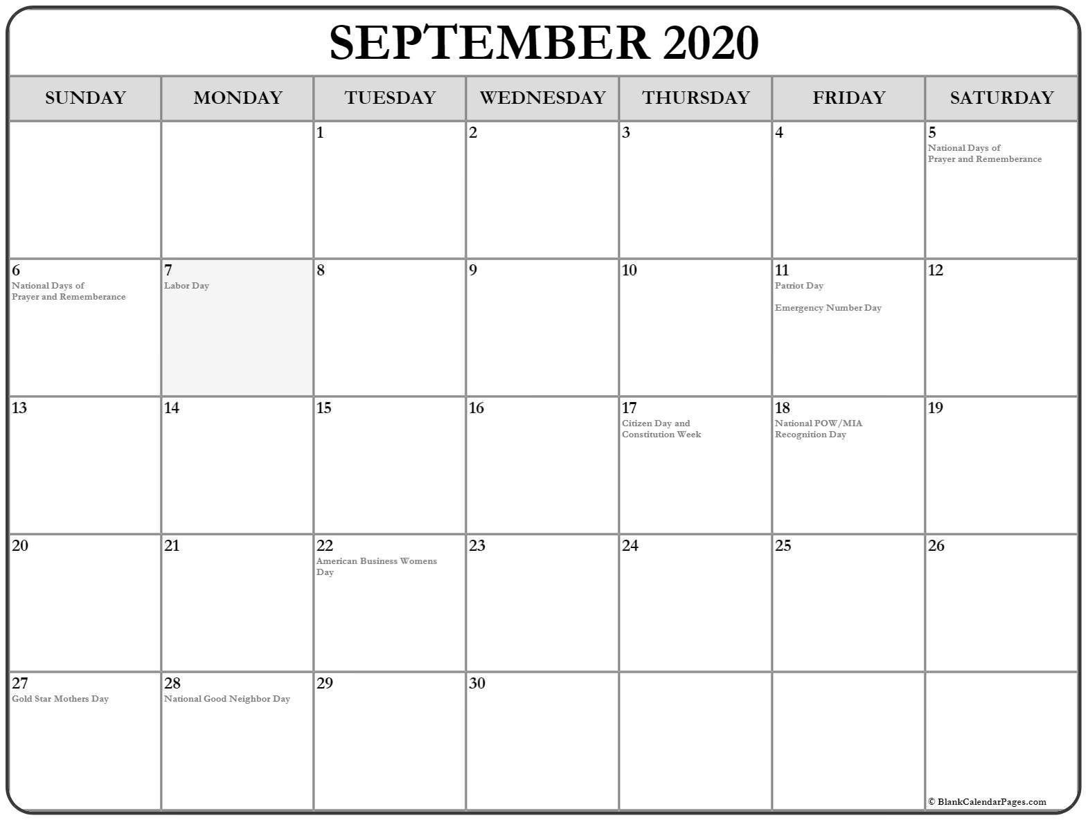 September 2020 Calendar With Holidays USA