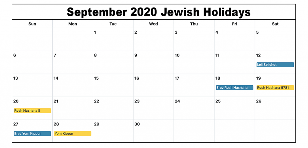 September 2020 Jewish Holidays