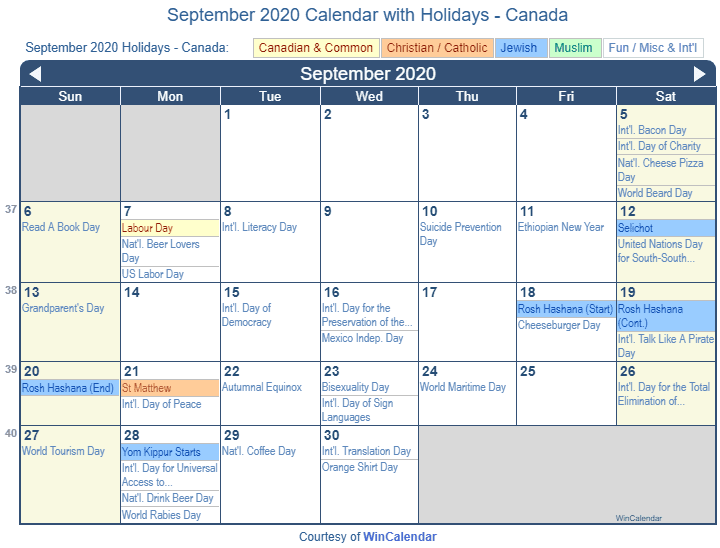 September Holidays 2020 canada