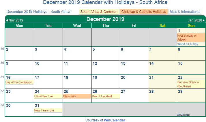 december 2019 calendar holidays south africa