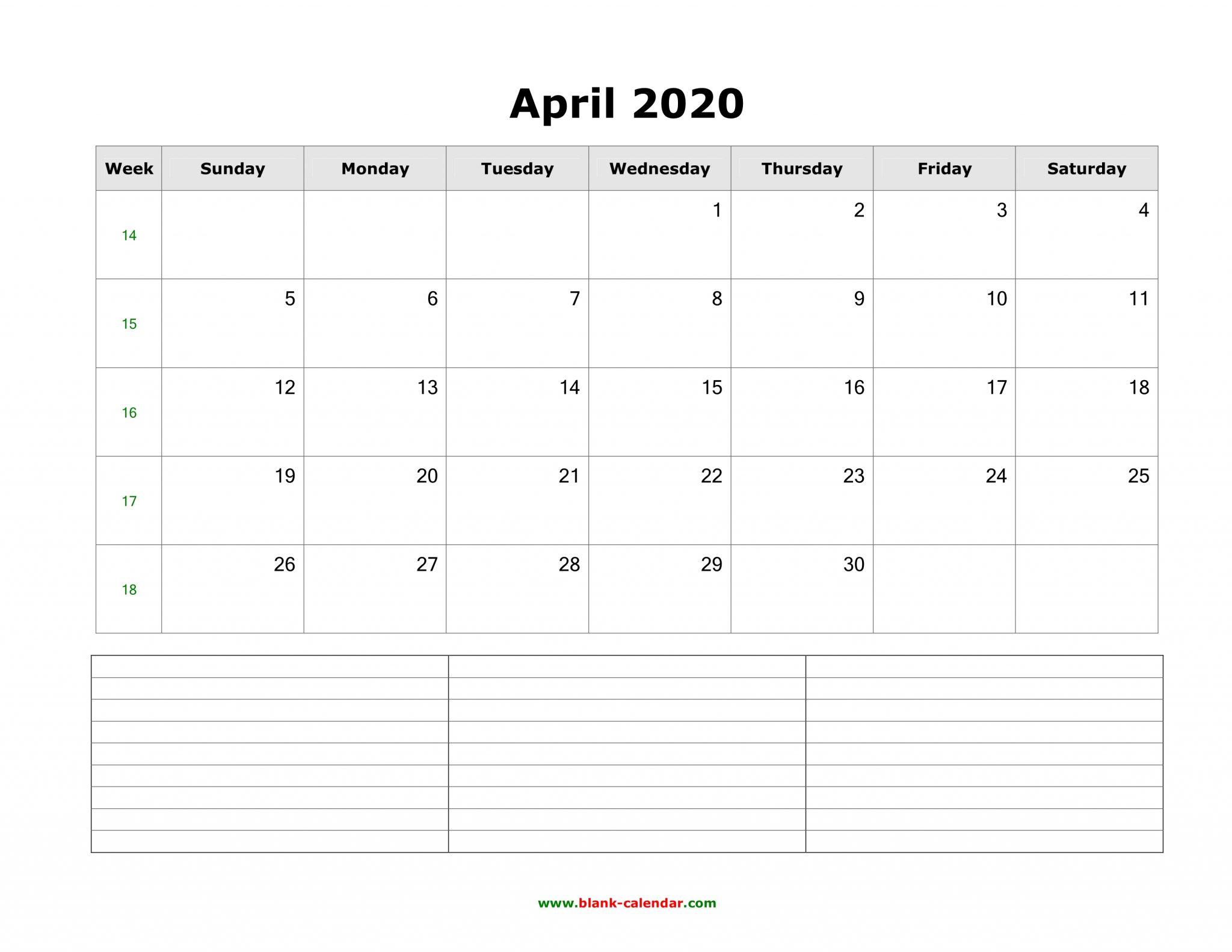 Blank April Calendar 2020 Printable Template Editable Designs