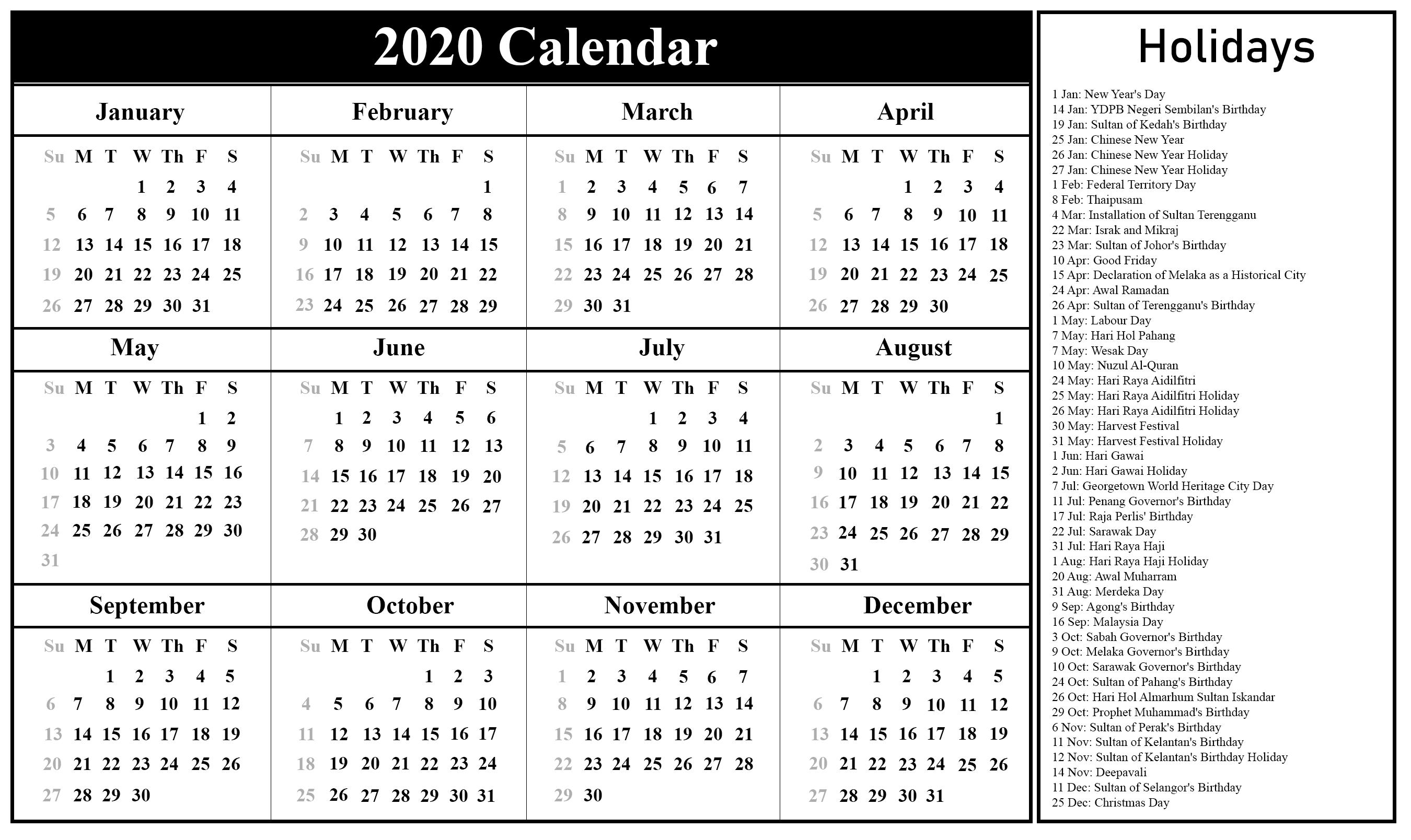 january 2020 holidays malaysia
