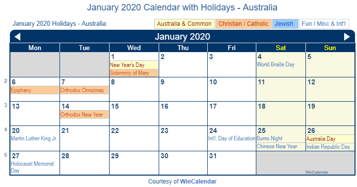 january calendar 2020 holidays nz