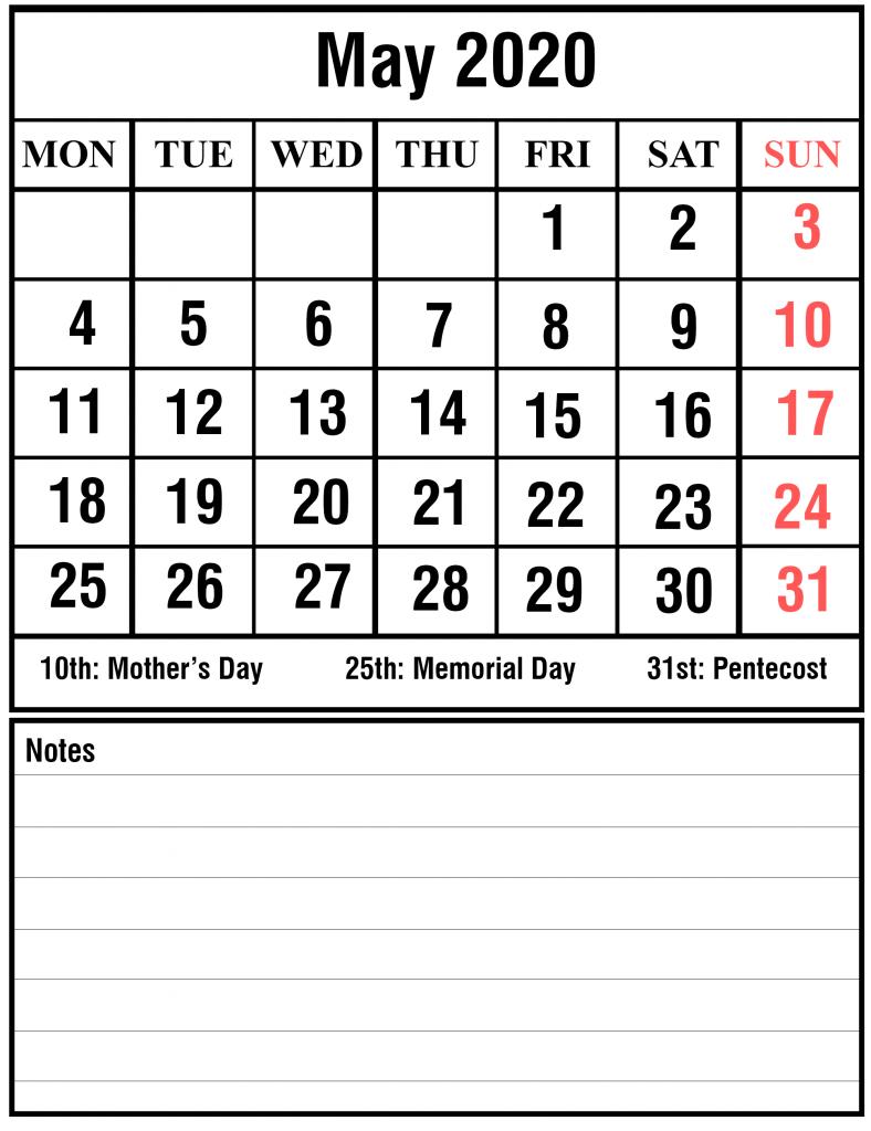 may 2020 calendar notes