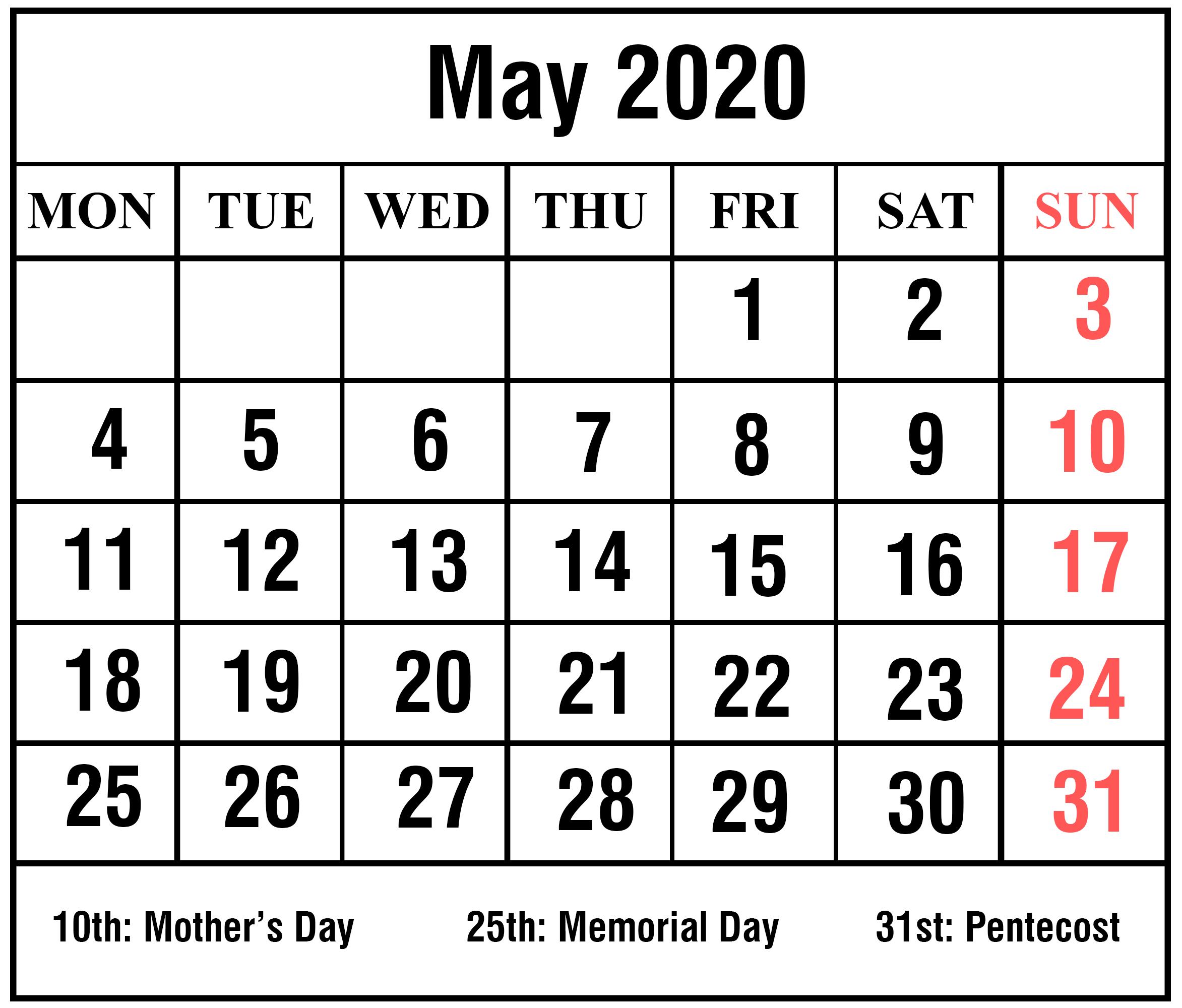 may 2020 calendar printable pdf