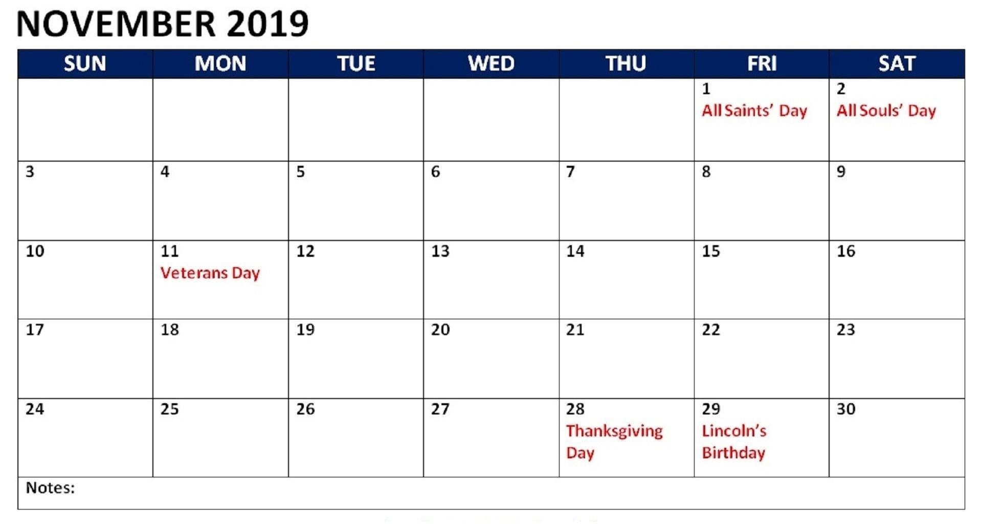 november 2019 Calendar Holidays Australia
