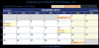 november 2019 holidays New Zealand