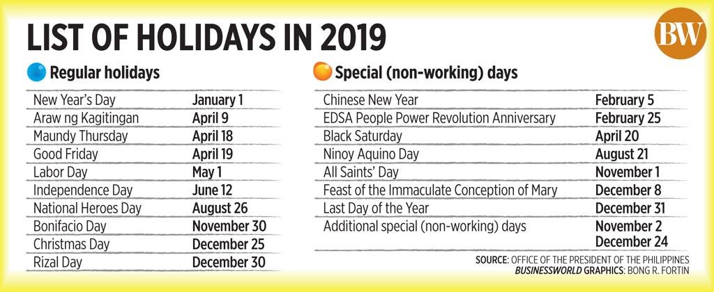 november 2019 holidays philippines
