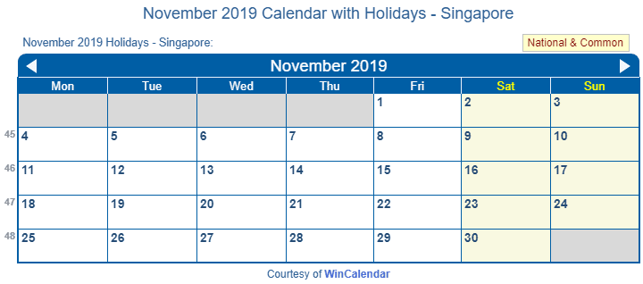 november 2019 holidays singapore