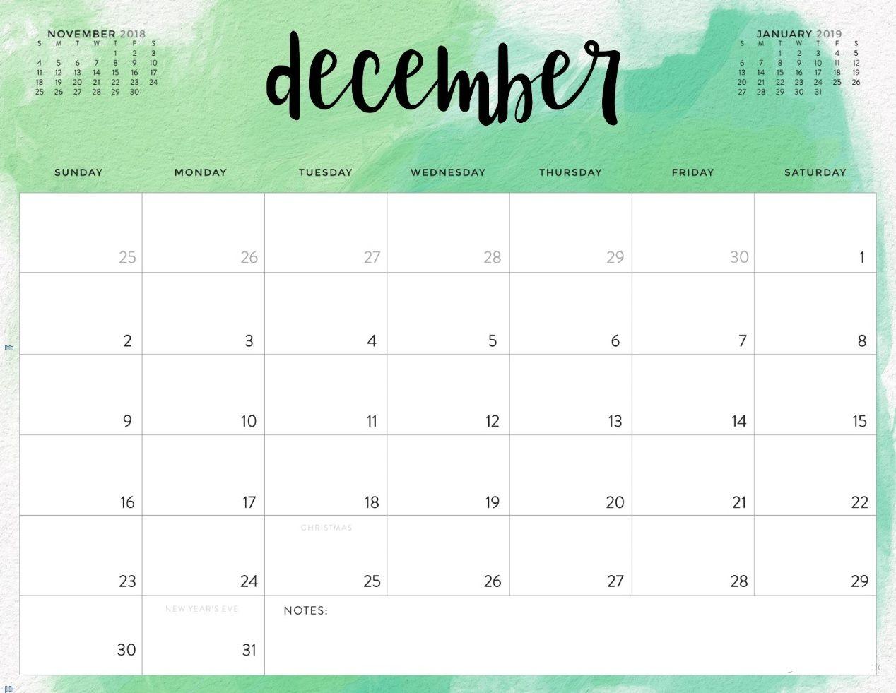 Blank Calendar For December 2019 month