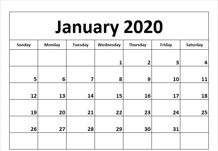 Blank Calendar January 2020 to Print