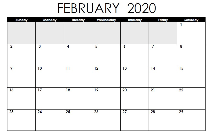 Blank Calendar of February 2020