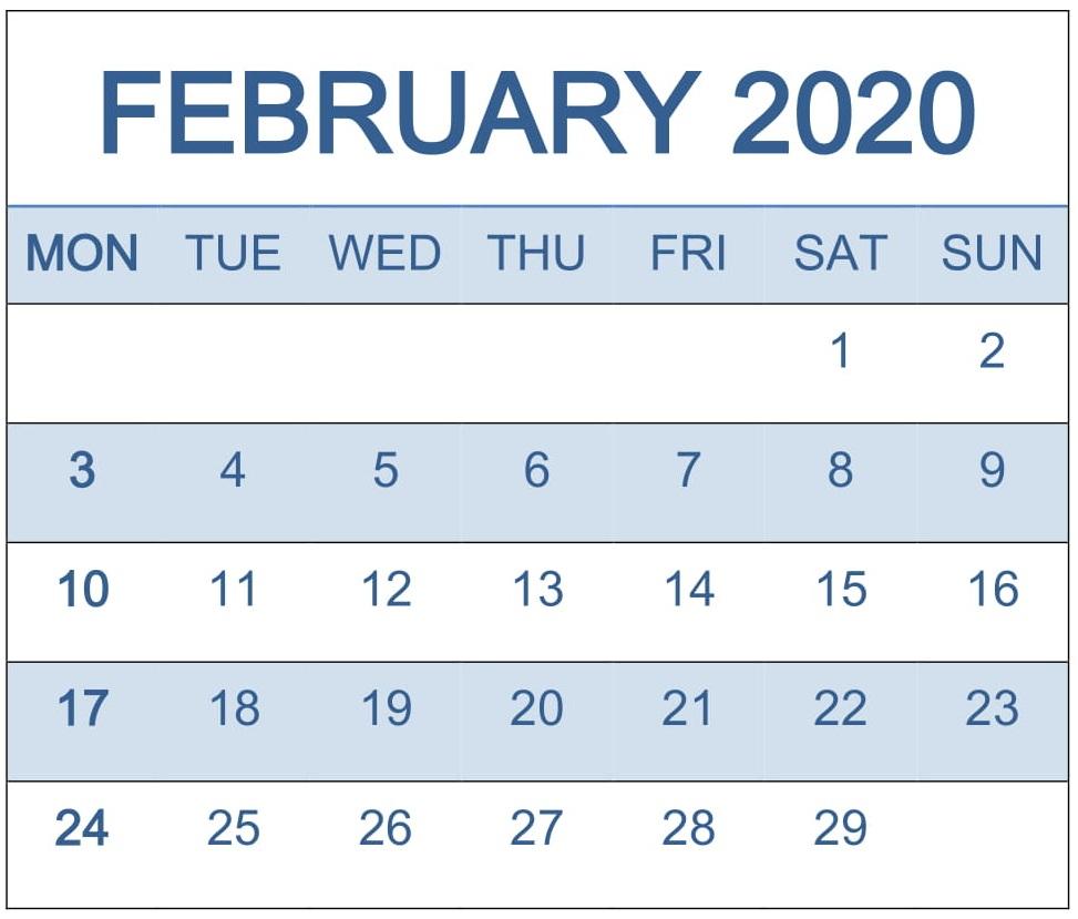 Calendar February 2020 Template