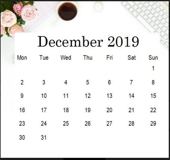 Cute December 2019 Calendar Desktop Wallpaper