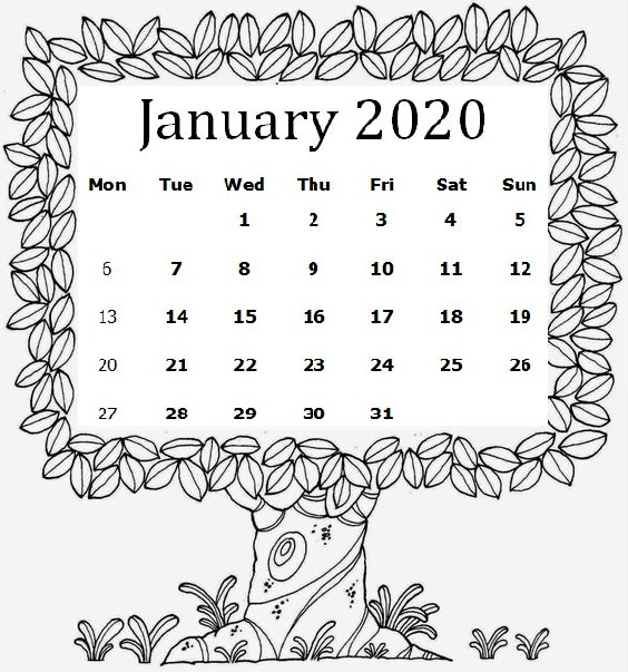 Cute January 2020 Calendar For Desk