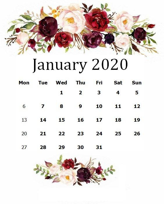 Cute January 2020 Floral Calendar