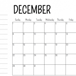 December 2019 printable calendar with space for notes