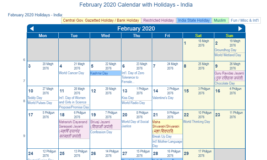 February 2020 Calendar Holidays India