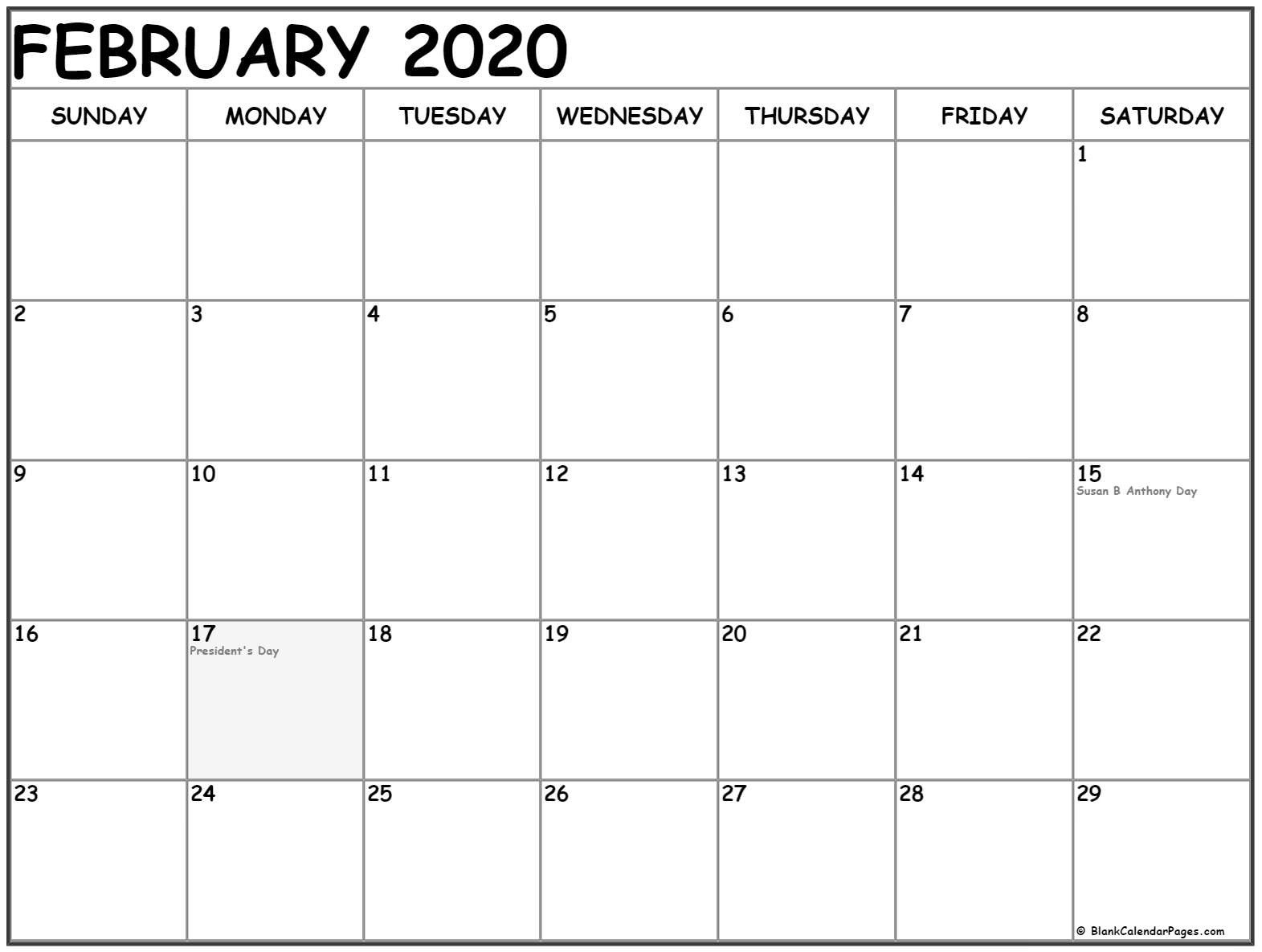 February 2020 Holiday Calendar