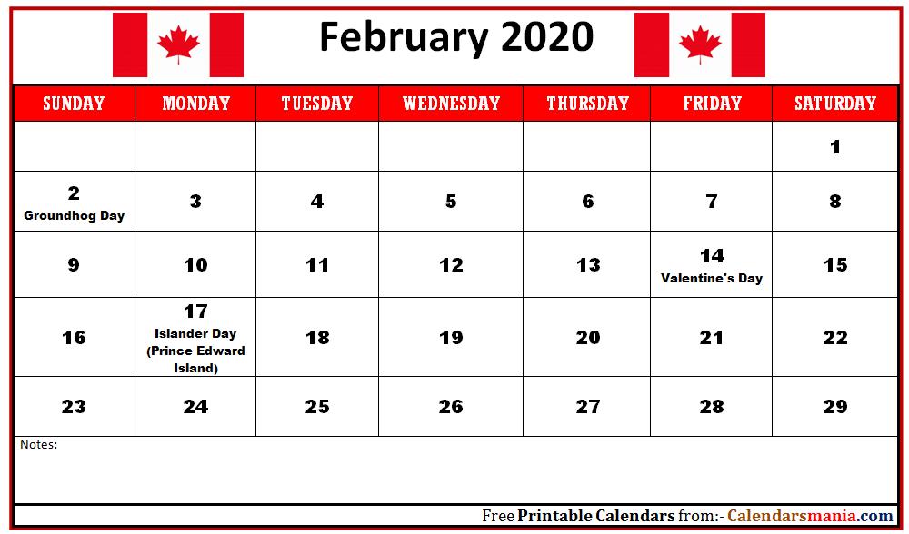 February 2020 Calendar With Canada
